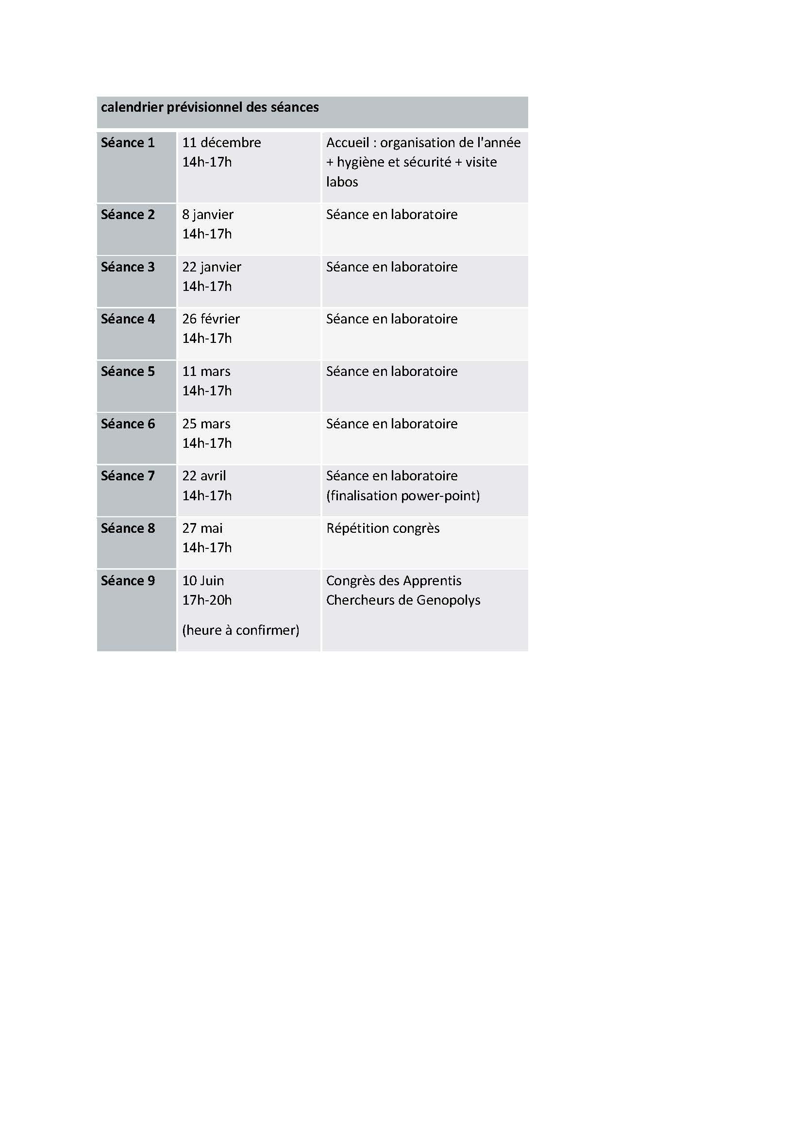 calendrier prévisionnel des séances